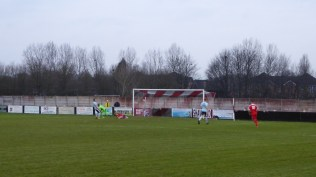 Start of the second half and the sky falls in on Studley with this snap goal to the Wood, before spectators could place their glasses of lubrication on the new railings. Just a moment!