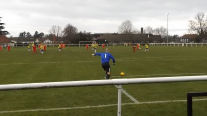 A bleak, cold, wintery afternoon in spring. First half and the Wood launched complex attacking moves . Uttoxeter goalkeeper played an interesting role in the proceedings.