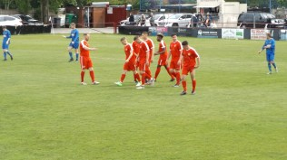 Celebration time after the first goal and some different players took part in this home side today.