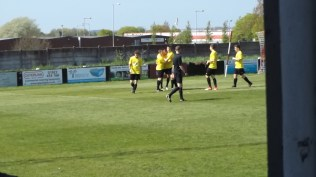 Moment of celebration for Nuneaton after scoring their first goal.