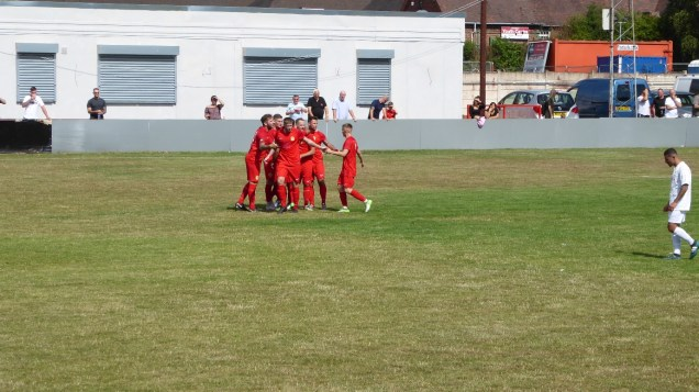 The Wood celebrate their first goal of the new season.