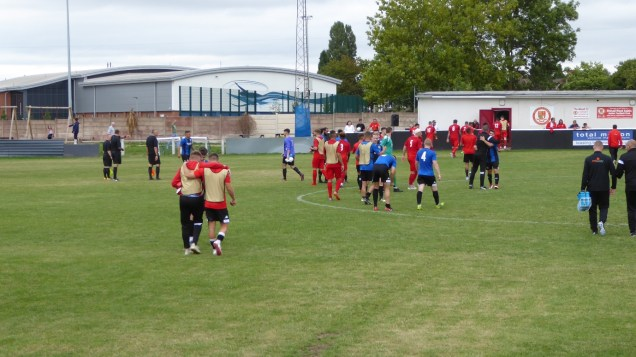 The match ends with Ilkeston the deserved winners by two goals to nil. Players who have given their all shake hands with their opponents as the home and away supporters applaud to bring the splendid afternoon to an end.
