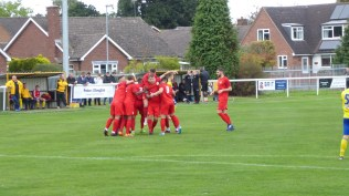 The Wood celebrate their first goal. But, knowing Uttoxeter, I sensed that a lip-smacker of a game would soon develop. It did. As tasty a game as you could wish to enjoy, too