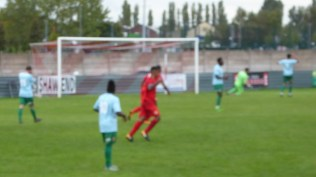 Second half and there, in a blur, is the only goal of the match..to the Wood