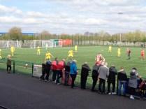 The first half gets under way as spectators look around wondering..well, wondering..