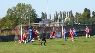Second half and South Normanton again attack the home goalmouth, putting the defence to the test