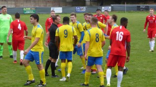Later in the second half. A heavy tackle by a Tividale player brings a burst of testosterone as the referee waits for things to calm down. The he issues a red card. Both the Wood and Tividale are now down to ten players