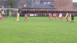 Walsall Wood take a free kick. There were frequent stoppages which detracted from the flow of the game.