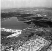 The White Horse road estate and Chasewater south shore and dam.