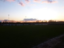 A beautiful sunset to herald a game of soccer.