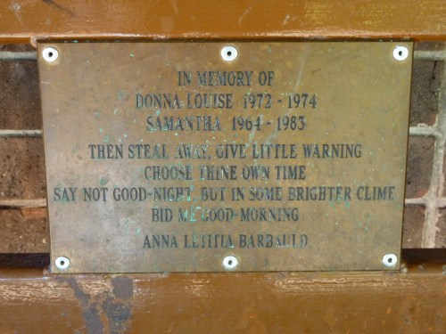 Memorial plaque on the bench beneath the chapel