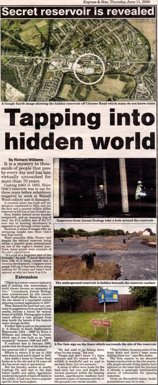 Express and star 11th June 2009: Secret reservoir is revealed
