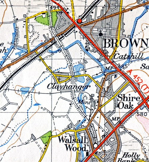 Clayhanger, from the Ordnance Survey 1950 series