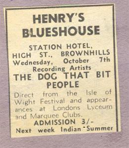 Brownhills once seems to have had a bustling music scene