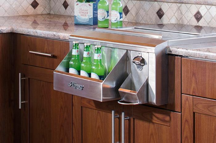 outdoor kitchen bar butcher block and brown jordan kitchens with refrigerator