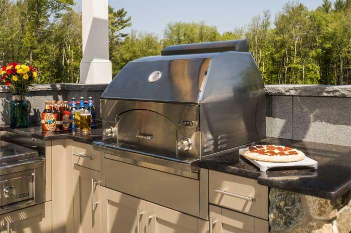 outdoor kitchen oven menards kitchens pizza cabinets brown jordan