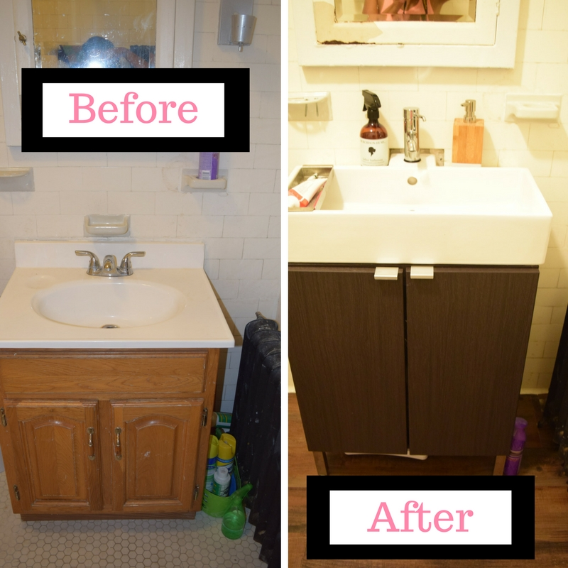 ... We Switched Our Old Bathroom Vanity And Sink With This Super Chic,  Square Top IKEA Sink U0026 Cabinet. Before We Give You The How To, Hereu0027s The  Before And ...