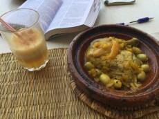 Chicken, preserved lemons and olives tagine on the Jemaa el-Fna