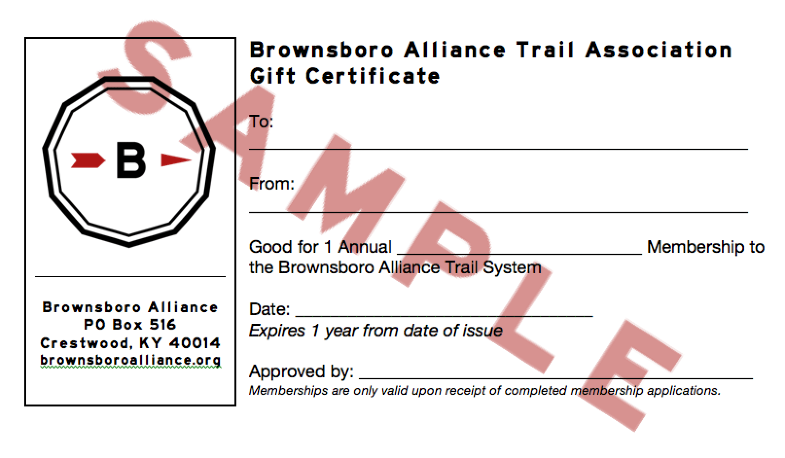 Gift certificates available brownsboro alliance gift certificates for a bata membership are available through our website visit httpbrownsboroalliancetrailsgift certificates for purchasing xflitez Gallery