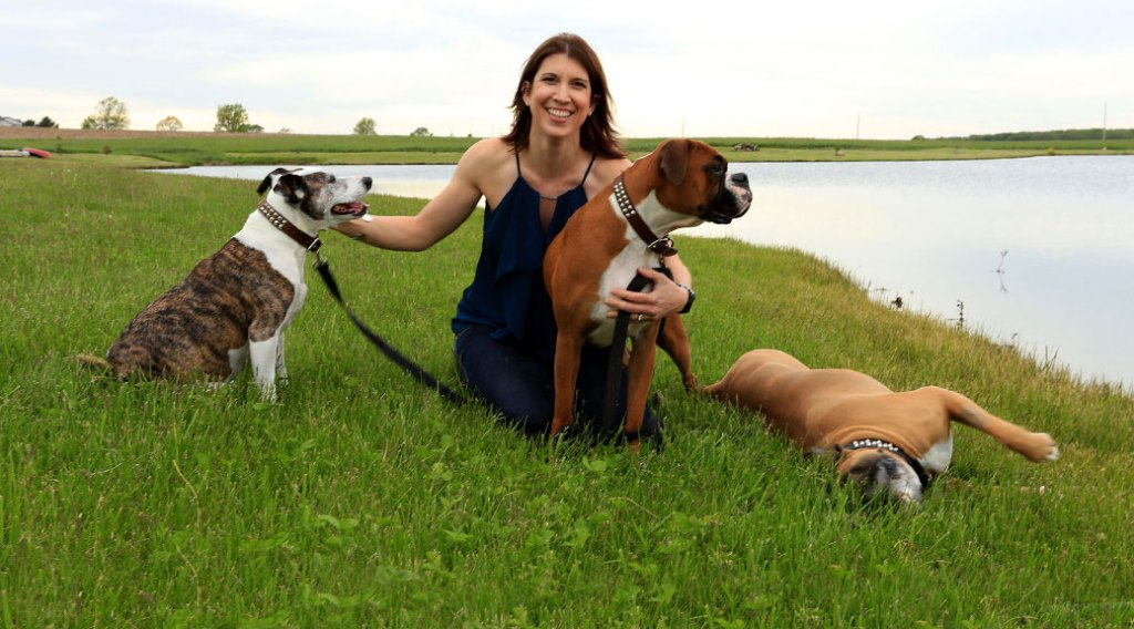 Timea H. Brady, DVM, and her dogs