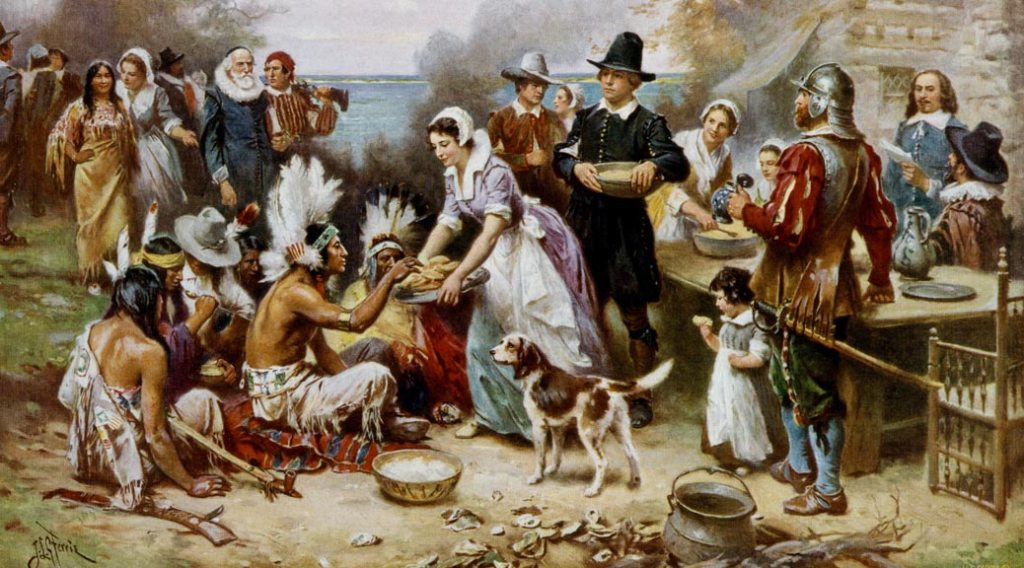 Painting showing the first Thanksgiving