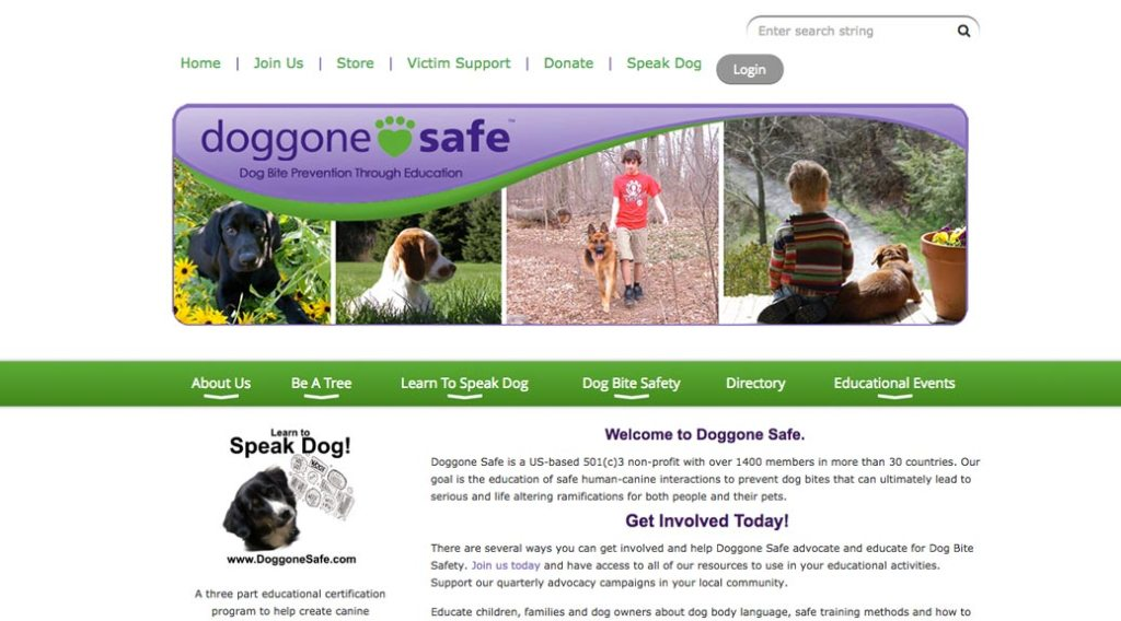 Doggone Safe home page screen shot