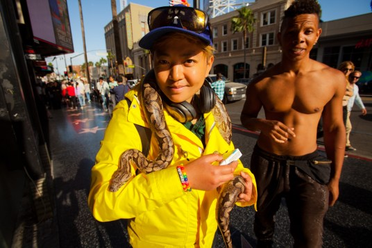 Tourist with a snake, Hollywood Boulevard