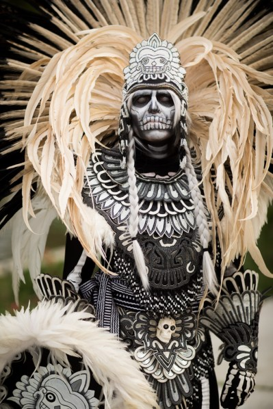 Aztec Ritual Dancer, Day of the Dead - Dia de los Muertos - at Hollywood Forever Cemetery, 10/29/2016. Hollywood, California, USA