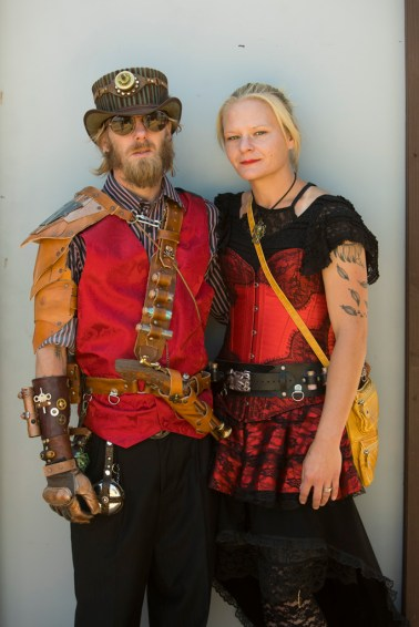Steampunk fashion on cosplay weekend at 2017 Renaissance Pleasure Faire, Santa Fe Dam Recreation Area, Irwindale, California, USA
