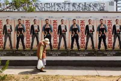Movie advertising on Fairfax Ave., Los Angeles, California, United States of America
