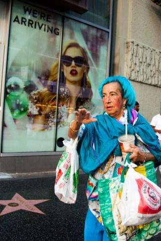 Old Woman Running, Hollywood Boulevard, Hollywood, California, USA