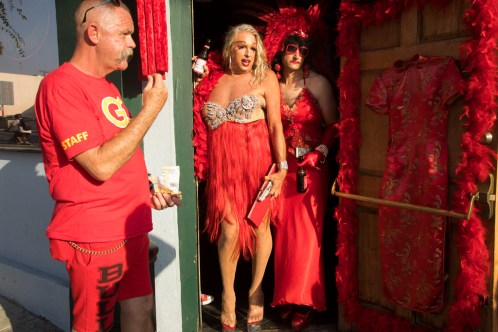 Red Dress Party, Gold Coast Bar, West Hollywood, California (July 16, 2017) The party is in honor of two former bartenders who died of AIDS.