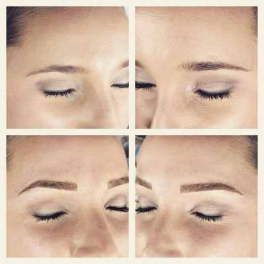 Microblading with blonde hair