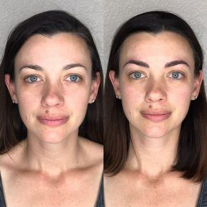 Microblading before and after subtle strokes