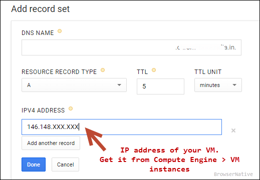 google-cloud-dns-a-record