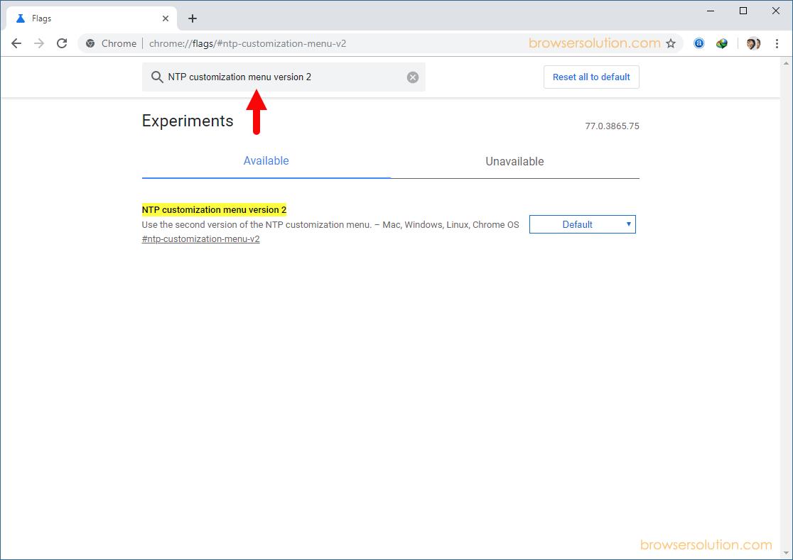 Chrome Flags NTP Customization Menu v2