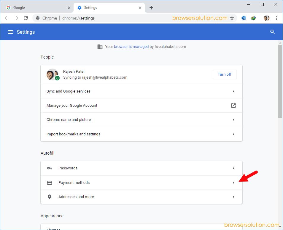 Chrome Settings Autofill Payment Method