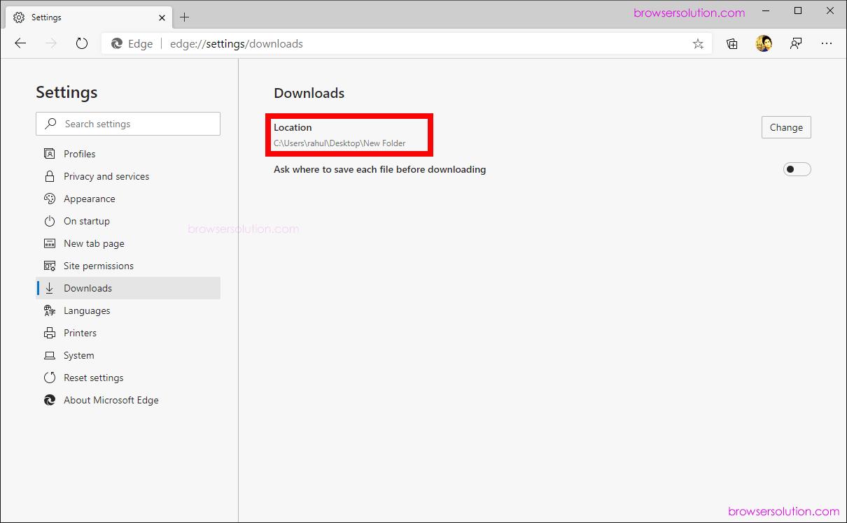edge download new location