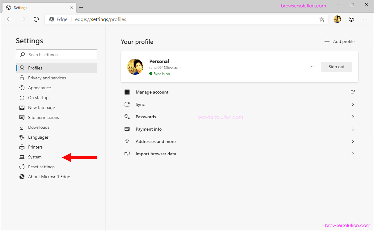 edge settings system