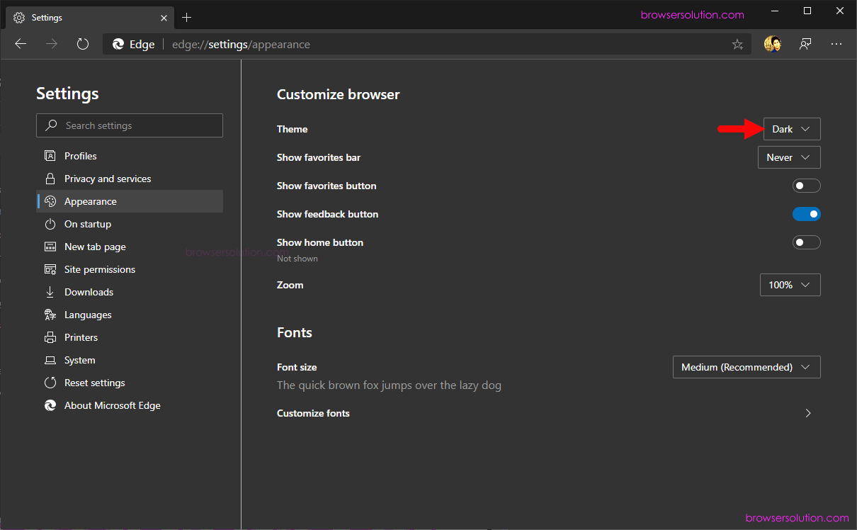 edge theme menu dark