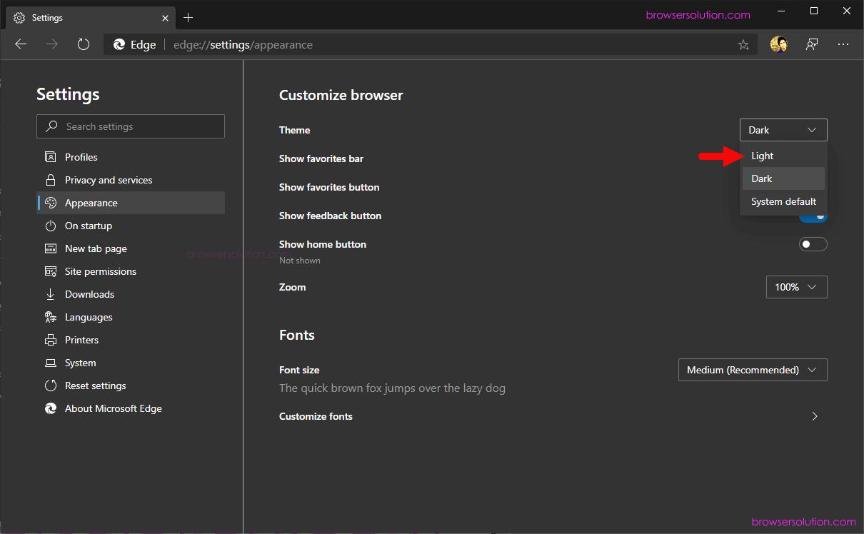 edge theme menu light select