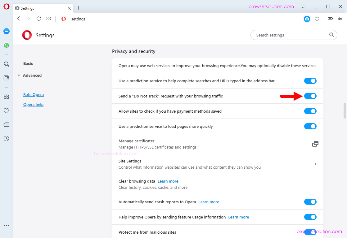 opera do not track disable