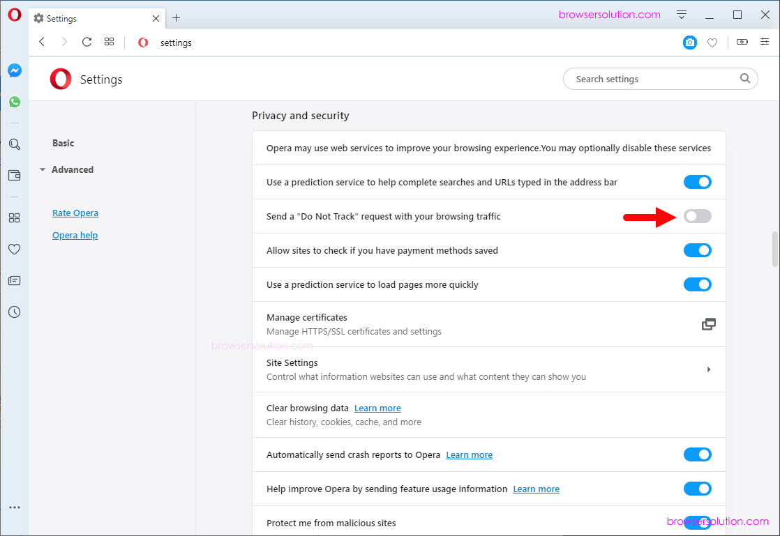 opera do not track enable