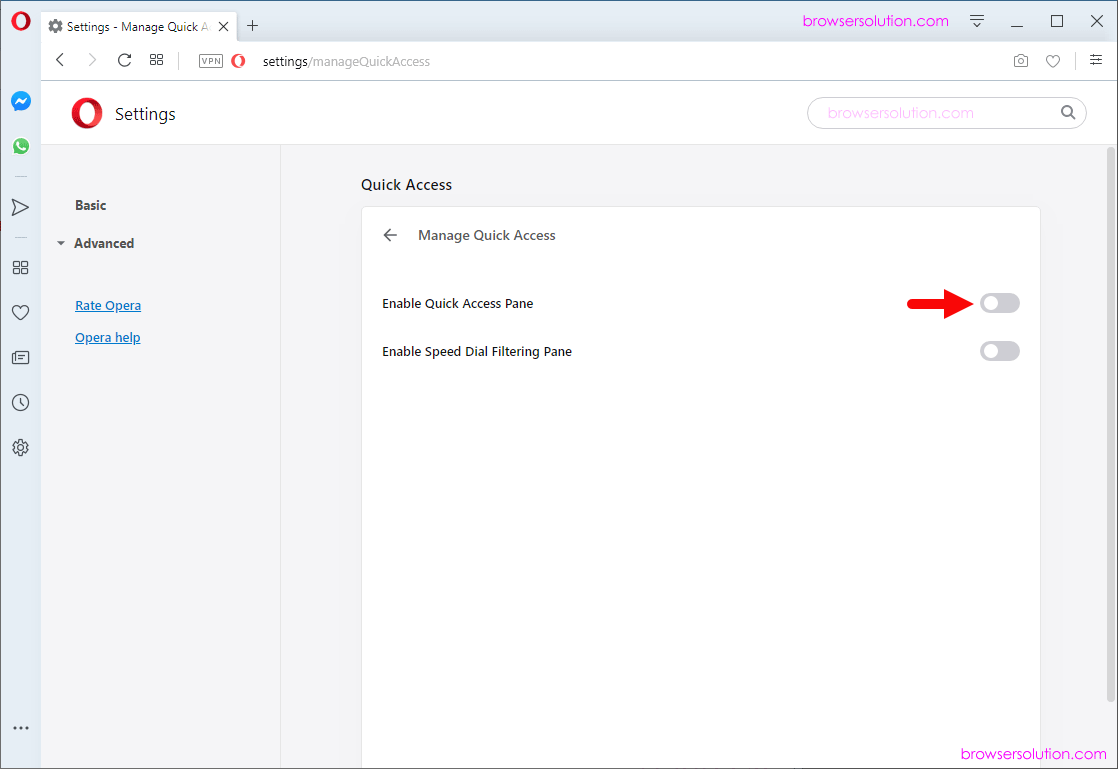 opera enable access checkbox