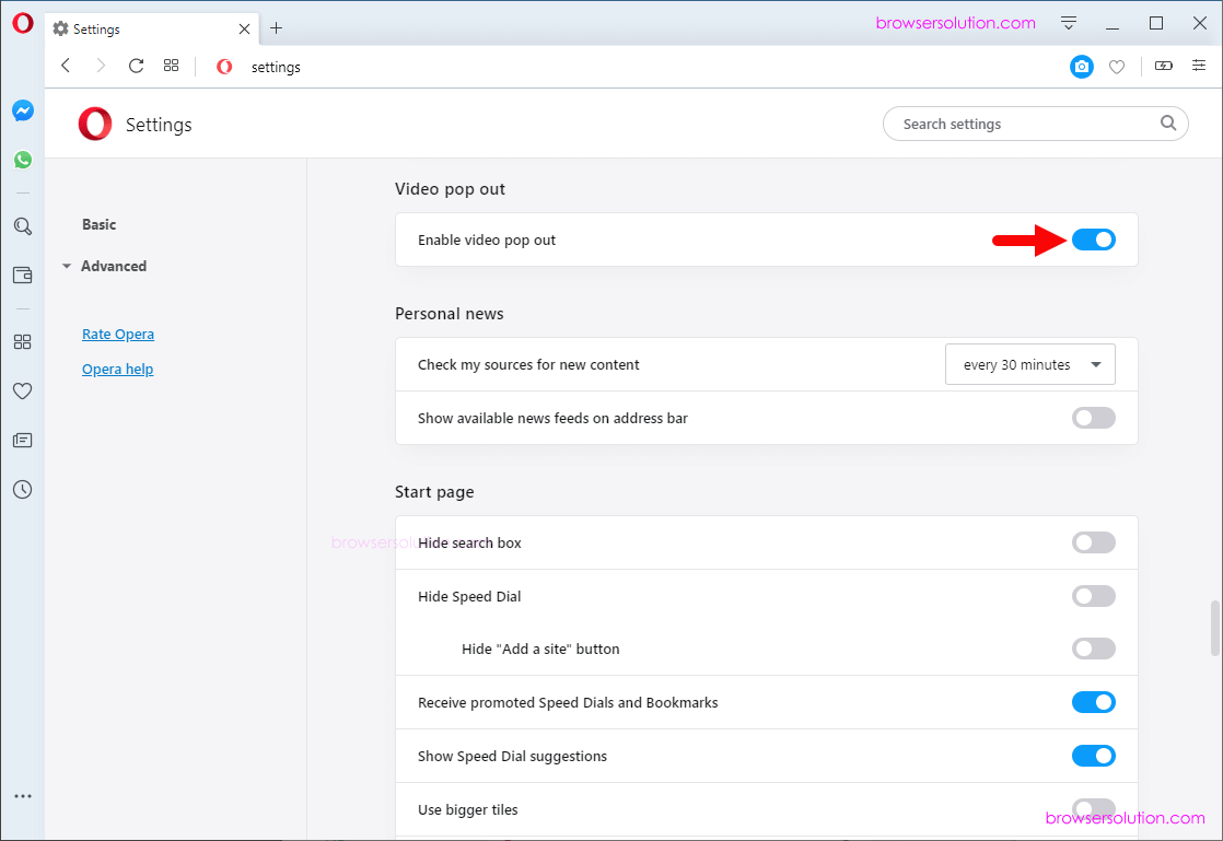 opera video popup disable