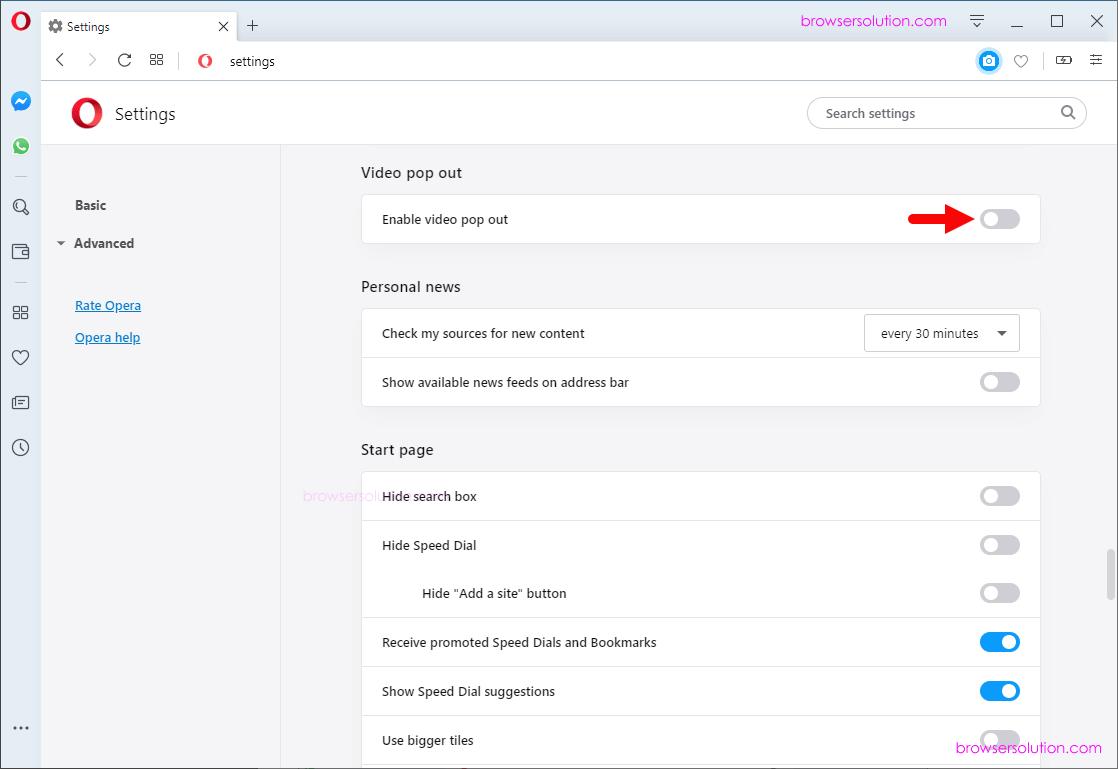 opera video popup enable