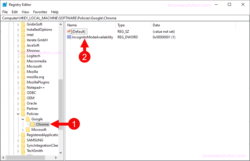 registry editor chrome incognito