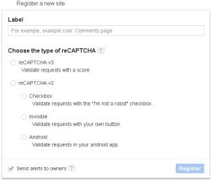グーグルreCAPTCHAの登録フォーム