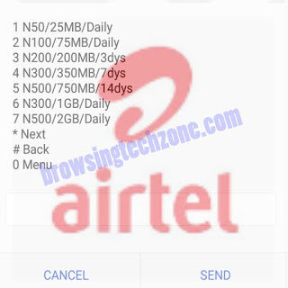 Airtel daily/weekly data plans