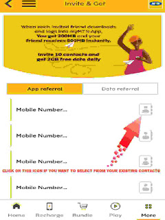 MyMTN App Referral menu